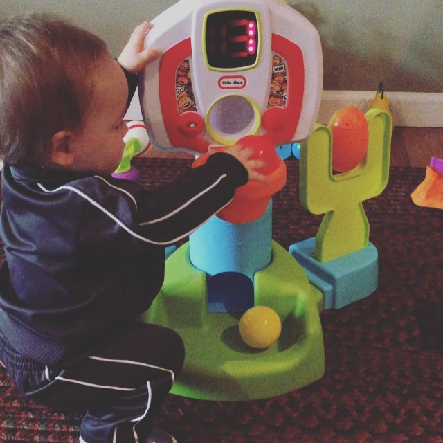 probably the only time in his life he'll be tall enough to play basketball