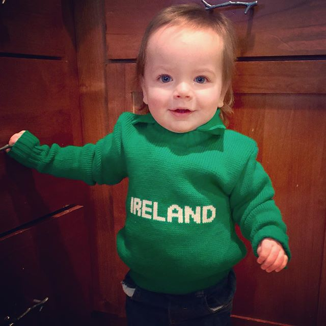happy happy from our little irishman! (loving my sweater from when i was little)?
